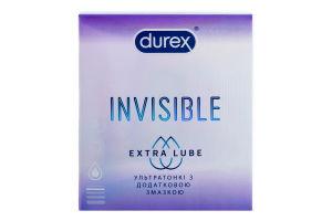Презервативи латексні ультратонкі з силіконовою змазкою Invisible Extra Lube Durex 3шт