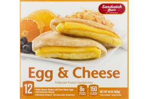Sandwich Bros. of Wisconsin Flatbread Pocket Sandwiches Egg & Cheese Individually Wrapped - 12 CT
