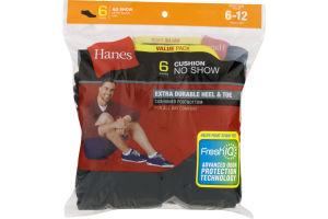 Hanes Cushion No Show Socks Black Shoe Size 6-12 - 6 PK