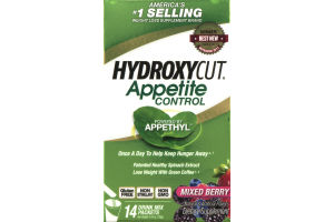 Hydroxycut Appetite Control Dietary Supplement Drink Mix Packets Mixed Berry - 14 CT
