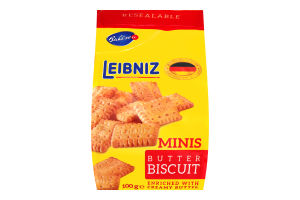 Печенье Minis butter biscuits с молочным шоколадом Leibniz 100г