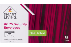 Smart Living #6.75 Security Envelopes Strip & Seal - 55 CT