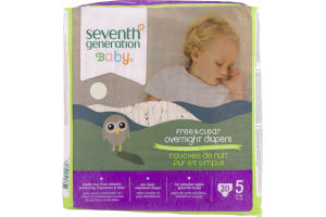 Seventh Generation Baby Free & Clear Overnight Diapers Size 5 - 20 CT