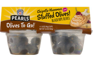 Pearls Olives To Go! Chipotle Hummus Stuffed Olives Black Ripe Olives - 4 CT