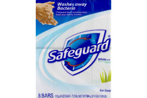 Safeguard White with Aloe Bar Soap - 8 CT