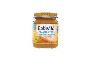 Пюре для детей от 4мес Овощное ассорти с цыпленком и рисом Bebivita с/б 125г
