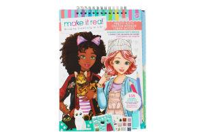 Блокнот для дітей від 8років з трафаретами для створення модних колекцій №MR3204 Гарненька кицюня Make it Real 122шт