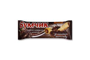 Трубочки кукурудзяні з начинкою зі смаком шоколаду Бумчик Бумкорн м/у 20г