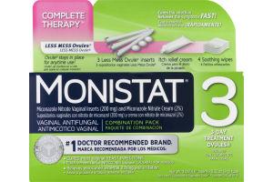 Monistat 3 Vaginal Antifungal 3-Day Treatment Ovules Combination Pack, Monistat 3 Antimicotico Vaginal Ovules Con Tratamiento Para 3 Dias Paquete De Combinacion