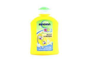 Шампунь и гель для душа детский 2в1 Банан Kids Sanosan 200мл