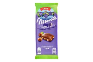 Шоколад молочный с целым лесным орехом Milka 90г