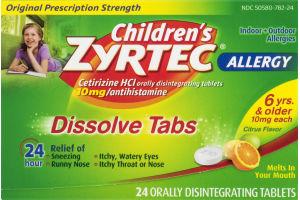 Children's Zyrtec Allergy Dissolve Tabs Citrus Flavor - 24 CT