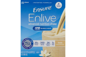Abbott Ensure Enlive Advanced Nutrition Shake Vanilla - 4 CT