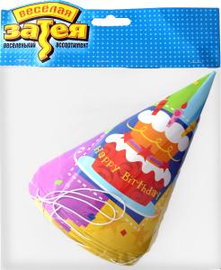 Ковпак №1501-1149 Торт Happy Birthday Веселая затея 6шт