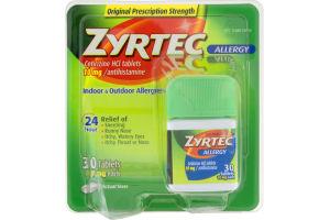 Zyrtec Allergy 10mg Antihistamine Indoor & Outdoor Allergies Tablets - 30 CT