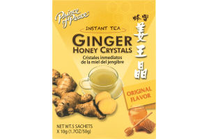 Prince of Peace Ginger Honey Crystals Instant Tea Sachets Original Flavor - 5 CT
