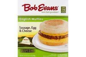 Bob Evans English Muffins Sausage, Egg & Cheese Individually Wrapped - 4 CT
