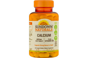 Sundown Naturals Calcium 600mg Dietary Supplement Coated Tablets - 120 CT