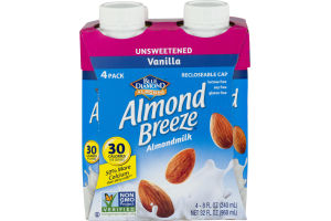 Blue Diamond Almonds Almond Breeze Almondmilk Unsweetened Vanilla - 4 PK
