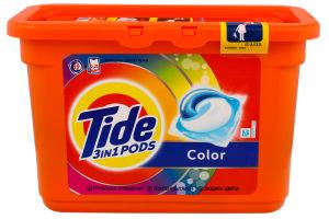 Средство моющее синтетическое жидкое в растворимых капсулах Color 3 in 1 Pods Tide 15шт