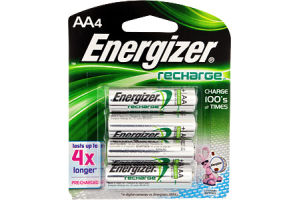 Energizer Recharge AA NiMH Battery - 4 CT