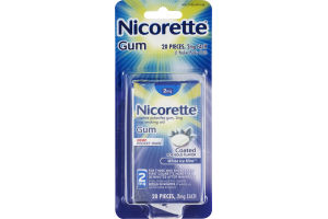 Nicorette 2mg White Ice Mint Coated Stop Smoking Aid Gum - 20 CT