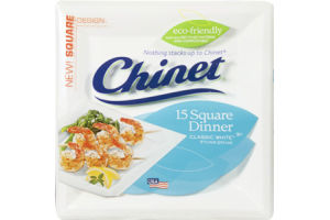 Chinet Plates Square Dinner Classic White - 9.5 Inch