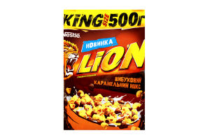 Сніданки сухі карамель та шоколад Lion м/у 500г