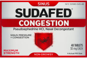 Sudafed Congestion Nasal Decongestant Maximum Strength Non-Drowsy Tablets - 48 CT