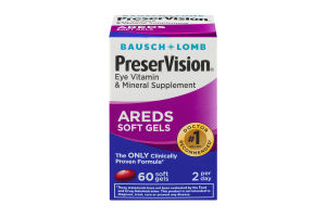 Bausch + Lomb PreserVision Eye Vitamin & Mineral Supplement AREDs Soft Gels - 60 CT