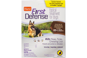 Hartz First Defense Topical Treatment for Dogs 89-132lbs - 3 CT