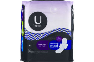 U By Kotex Security Maxi Wings Overnight Pads - 14 CT