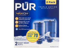 PUR Triple Action MineralClear Faucet Monitor Refills - 2 PK