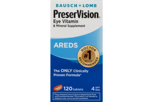 Bausch + Lomb PreserVision Eye Vitamin & Mineral Supplement Areds Tablets - 120 CT