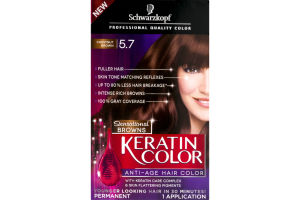 Schwarzkopf Keratin Color Permanent Anti-Age Hair Color Sensational Browns Chestnut Brown 5.7