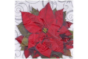 Paper Art Napkins 9 4/5in x 9 3/4in Poinsettia Swirls - 16 CT