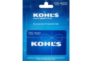 Kohl's Gift Card $25-$500