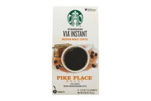 Starbucks Via Instant Medium Roast Coffee Pike Place Roast Packets - 8 CT
