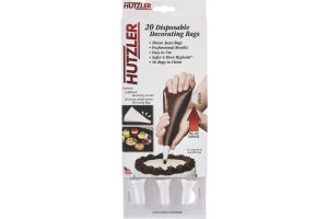 Hutzler Disposable Decorating Bags and 3 Decorating Nozzles - 20 CT