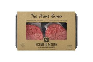 Schweid & Sons Fresh Custom Blend Ground Beef Burgers The Prime Burger - 4 CT