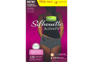 Depend Silhouette Active Fit Moderate Absorbency L/XL Lower-Rise Briefs - 4 CT