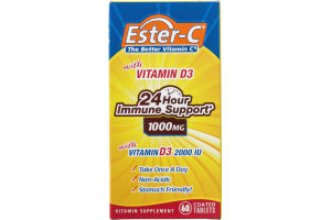 Ester-C The Better Vitamin C 24 Hour Immune Support 1000MG Tablets - 60 CT