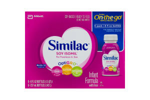 Soy-Based Ready to Feed Similac On-the-Go Nipple Ready Soy Isomil for Fussiness & Gas OptiGro Infant Formula with Iron