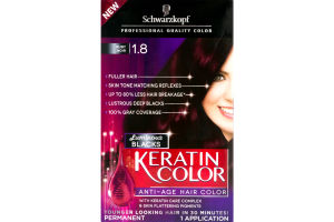 Schwarzkopf Keratin Color Permanent Anti-Age Hair Color Luminous Blacks Ruby Noir 1.8