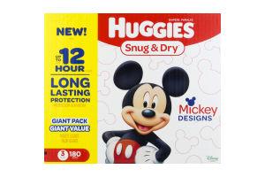 Huggies Snug & Dry Diapers Size 3 - 180 CT