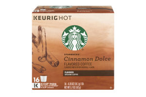 Starbucks Flavored Ground Coffee K-Cup Pods Cinnamon Dolce - 16 CT