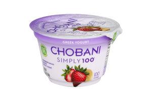 Chobani Simply 100 Greek Blended Yogurt Strawberry Banana Non-Fat