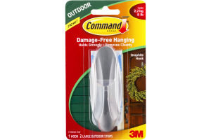 Command Damage-Free Hanging Outdoor Graphite Hook