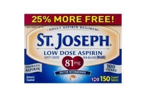 St. Joseph Low Dose Aspirin Coated Tablets - 150 CT