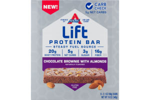 Atkins Lift Protein Bar Chocolate Brownie with Almonds - 9 CT